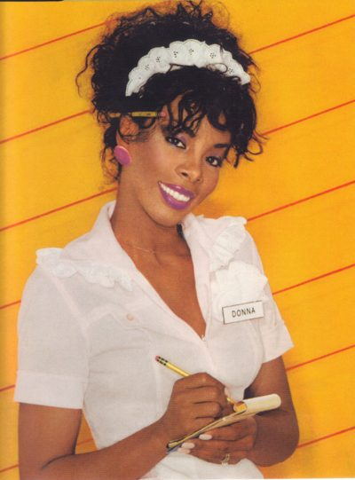 Image of Donna Summer in her waitress outfit